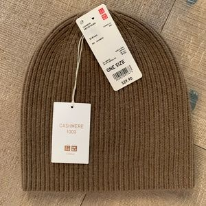 UNIQLO CASHMERE KNITTED BEANIE BROWN